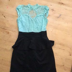 Mint and Black Peplum Dress